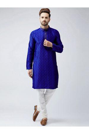 SOJANYA Men Navy Blue & Off-White Self Design Kurta with Churidar