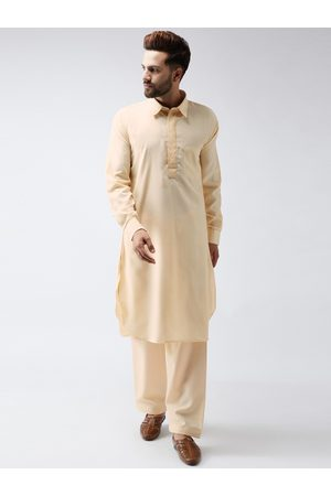 SOJANYA Men Nude-Coloured Solid Kurta with Salwar