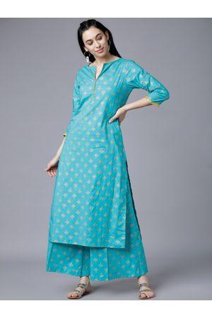 Vishudh Women Turquoise Blue & Gold-Toned Printed Kurti with Palazzos