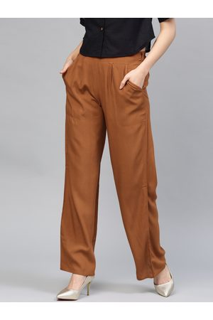 Jaipur Women Brown Solid Straight Palazzos