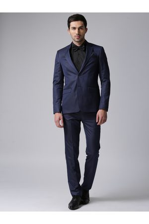 True Blue Men Suits - Men Navy Single-Breasted Regular Fit Formal Suit
