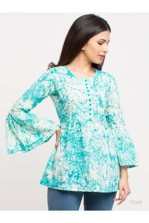 Yash Gallery Women Turquoise Blue Dyed A-Line Top