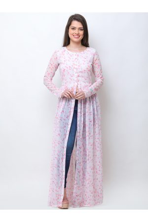 Cation Women White & Pink Printed Maxi Top