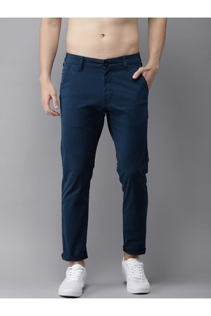 HERE&NOW Men Navy Blue Slim Fit Solid Chinos