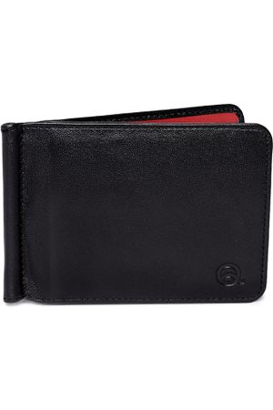 EVOQ Men Black & Red Solid Genuine Leather Card Holder