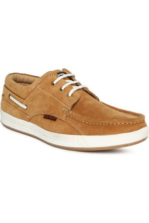 Red Chief Men Tan Brown Suede Boat Shoes