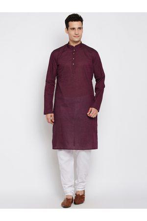 RG DESIGNERS Men Purple & White Solid Kurta with Pyjamas