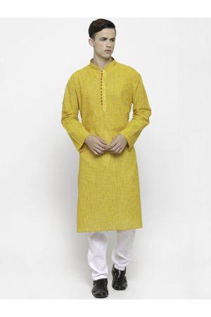 RG DESIGNERS Men Yellow & White Solid Kurta with Pyjama