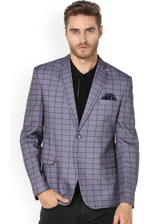 Hangup Men Blazers - Men Grey Checked Single-Breasted Casual Blazer