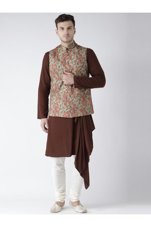 KISAH Men Brown & Cream-Coloured Solid Kurta with Churidar & Nehru Jacket