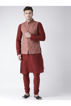 KISAH Men Maroon & Rust Solid Kurta with Churidar & Nehru Jacket