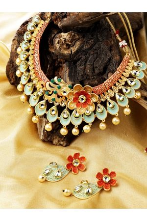 adidas Sea Green & Red Gold-Plated Kundan-Studded Handcrafted Jewellery Set