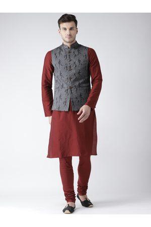 KISAH Men Maroon & Grey Solid Kurta with Churidar & Nehru Jacket
