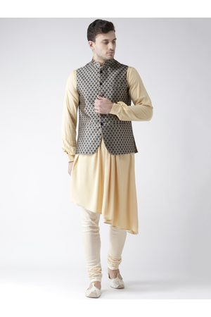 KISAH Men Beige Printed Churidar Kurta with Nehru Jacket