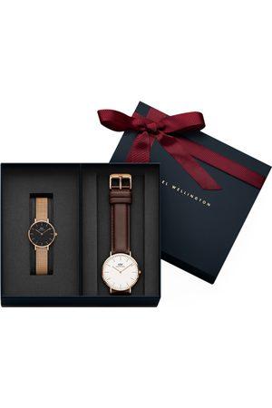 Daniel Wellington Unisex Petite Melrose Black 28mm Watch And Classic Bristol Rose Gold Couple Watch Set DW00500105