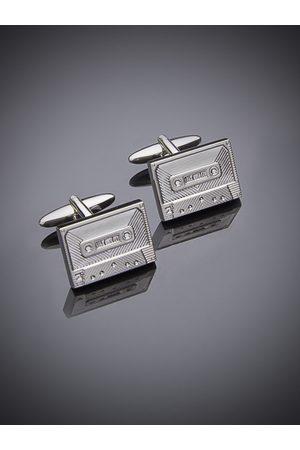 shaze Silver-Plated Geometric Cufflinks