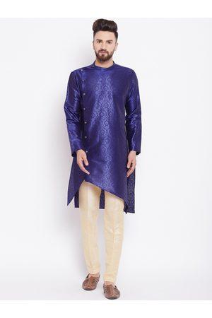 See Designs Men Blue Printed Asymmetrical Hem Straight Kurta