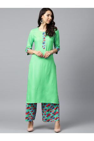 Shree Women Green Solid Kurta with Palazzos