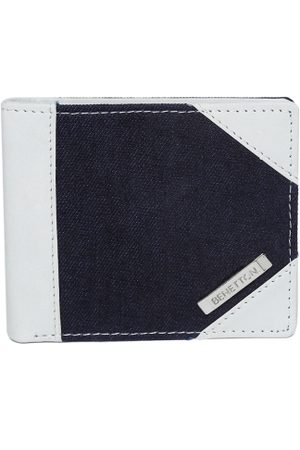 Benetton Men Navy Blue & Off-White Colourblocked Two Fold Wallet