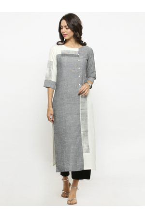 Varanga Women Trousers - Women Grey & Black Printed Kurta with Trousers