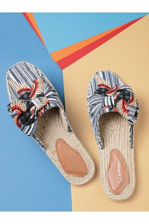 Mast & Harbour Women Navy & Off-White Striped Espadrille Mules with Bow Detail
