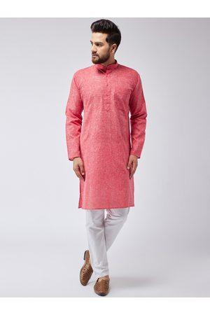 SOJANYA Men Red & White Solid Kurta with Pyjamas