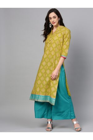 Varanga Women Green & Blue Printed Kurta with Palazzos