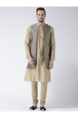 KISAH Men Taupe & Beige Sherwani Set