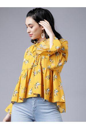 Tokyo Talkies Women Mustard Yellow Floral Printed A-Line Top
