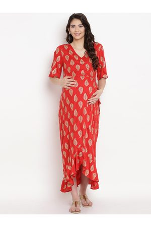 Mine4Nine Women Red Printed Maternity Maxi Dress