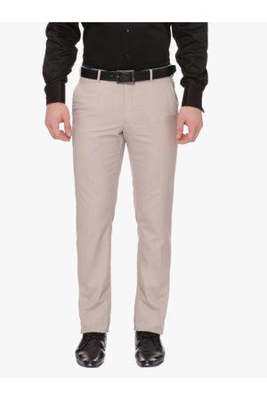 Van Heusen Men Beige Slim Fit Solid Formal Trousers