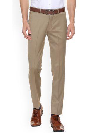 Louis Philippe Men Brown Regular Fit Solid Formal Trousers