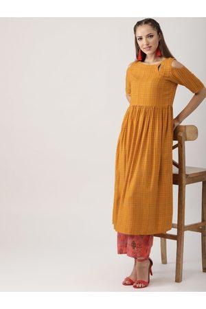 Libas Women Mustard Yellow & Coral Orange Checked Kurta with Palazzos