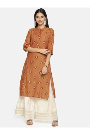 ALENA Women Brown & Maroon Printed Straight Kurta