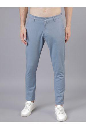 Highlander Men Blue & Grey Slim Fit Checked Regular Trousers