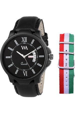WM Men Black Analogue Leather Watch DD-022-ITALY