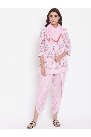 Biba Women Pink Printed Kurti with Dhoti Pants & Scarf