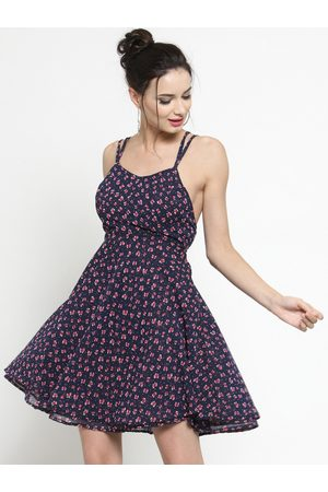 Sera Women Navy Blue Printed Fit and Flare Dress
