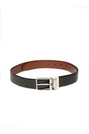 Louis Philippe Men Black & Brown Textured Reversible Belt