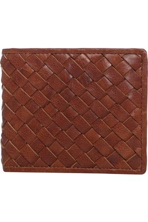 Aditi Wasan Men Brown Textured Two Fold Leather Wallet