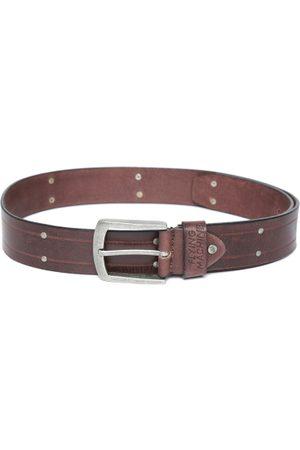 Flying Machine Men Coffee Brown Leather Striped Belt