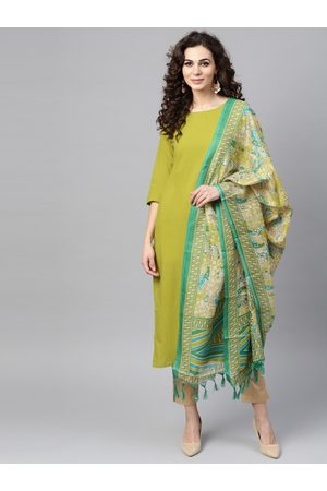 Nayo Women Green & Beige Solid Kurta with Trousers & Dupatta