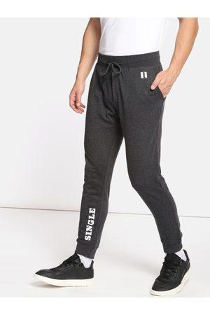 SINGLE Men Joggers - Men Charcoal Grey Slim Fit Solid Joggers