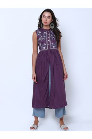 Vishudh Women Purple & Blue Solid Kurta with Palazzos