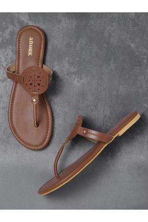 Anouk Women Brown Cut-Work Open Toe Flats