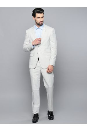 Louis Philippe Men Off-White Self Design Slim Fit Single-Breasted Formal Suit