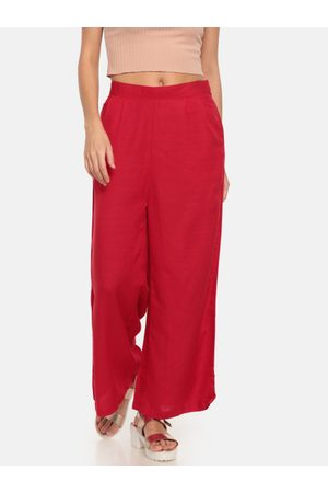 GO COLORS Women Red Solid Wide Leg Palazzos