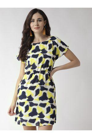 MISH Women Off-White & Navy Blue Printed Mini Shift Dress