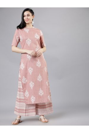 Vishudh Women Pink & Off-White Printed Kurta with Palazzos