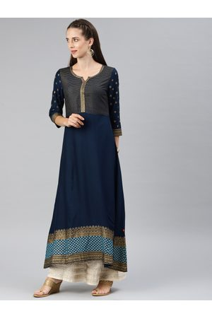ALENA Women Navy Blue Printed Panelled A-Line Kurta